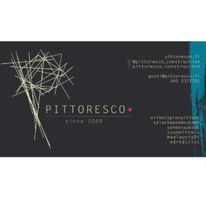 Logoluonnos ja käyntikortti Pittoresco Construction